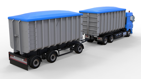 Large blue truck with separate trailer, for transportation of agricultural and building bulk materials and products. 3d rendering