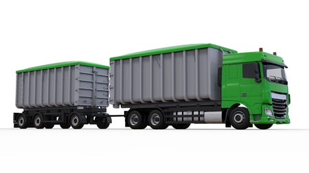 Large green truck with separate trailer, for transportation of agricultural and building bulk materials and products. 3d rendering