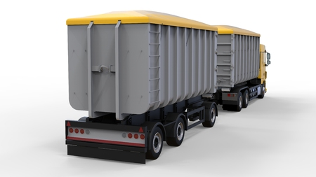 Large yellow truck with separate trailer, for transportation of agricultural and building bulk materials and products. 3d rendering