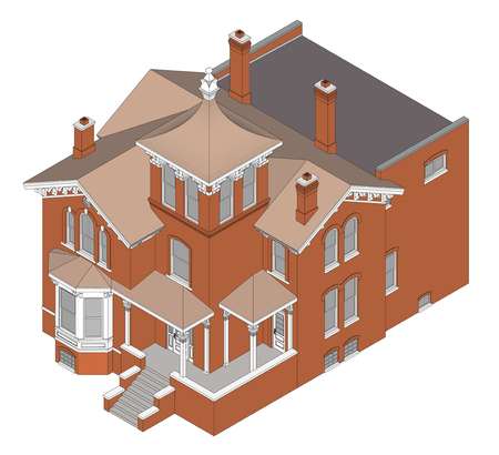 Old house in Victorian style. Illustration on white background. Illustration