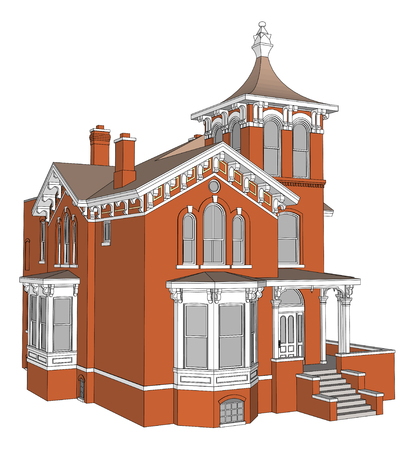 Old house in Victorian style. Illustration on white background. Species from different sides Vettoriali