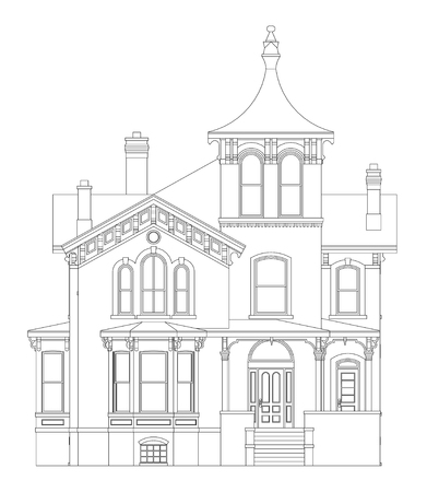 Altes Haus im viktorianischen Stil . Illustration auf weißem Hintergrund . Arten von verschiedenen Seiten