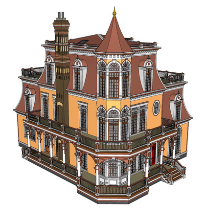 Old house in Victorian style. Illustration on white background. Species from different sides Illustration