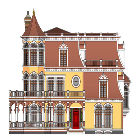 Old house in Victorian style. Illustration on white background. Species from different sides Иллюстрация