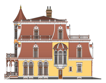 Old house in Victorian style. Illustration on white background. Species from different sides Çizim