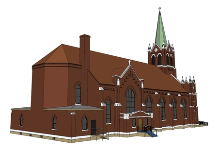 The building of the Catholic church, views from different sides. Three-dimensional illustration on a white background