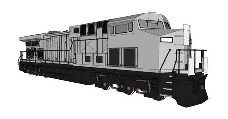 Locomotiva railway diesel moderna com grande poder e força para mover o trem de estrada de ferro longo e pesado. Ilustração vetorial com linhas de traço de contorno Ilustración de vector