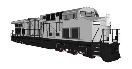 Modern diesel railway locomotive with great power and strength for moving long and heavy railroad train. Vector illustration with outline stroke lines