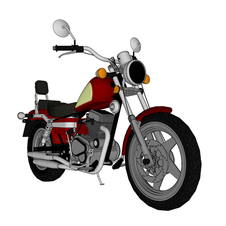 Small red classic chopper look. Vector color illustration with contour lines Illustration
