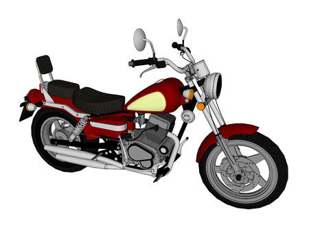 Small red classic chopper look. Vector color illustration with contour lines