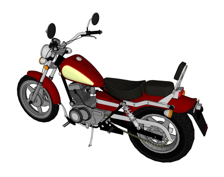 small red classic chopper look vector color illustration with contour lines vector