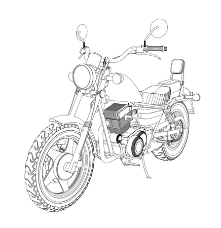 A small chopper is a classic. Vector black and white illustration with contour lines