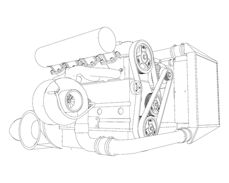 A turbocharged four-cylinder, high-performance engine for a sports car. Vector black and white illustration with a stroke of contours of details.
