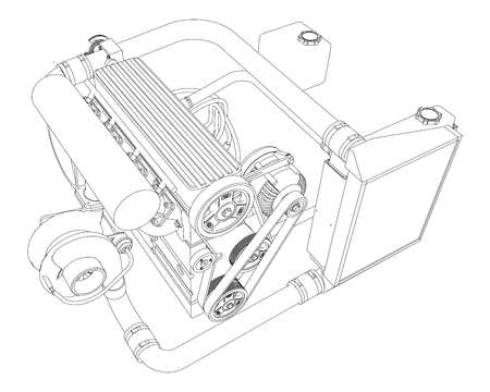 A turbocharged four-cylinder, high-performance engine for a sports car. Vector black and white illustration with a stroke of contours of details