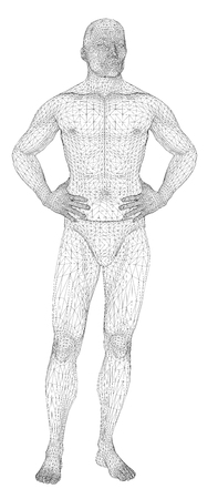 The man is bending his hands on his belt. The person of the athletic constitution expects or is relaxed. Vector illustration of a black lines on a white background