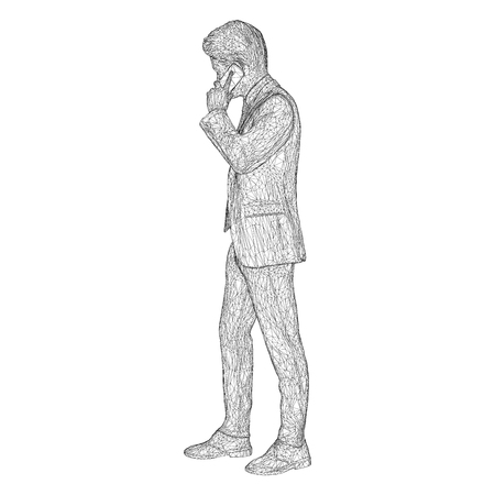 Male businessman in a business suit standing and talking on the phone, slightly tilting her head. Illustration of three-dimensional polygons-triangles are depicted with black lines on a white background