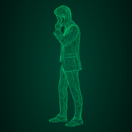 Male businessman in a business suit standing and talking on the phone, slightly tilting her head. Illustration of three-dimensional polygons-triangles are depicted with glowing green lines on a black and green background