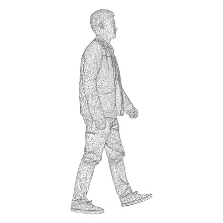 The man in the jacket is walking somewhere. Species from different sides. Vector illustration of a black triangular grid on a white background Vettoriali