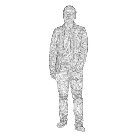 The man in the jacket is walking somewhere. Species from different sides. Vector illustration of a black triangular grid on a white background 向量圖像