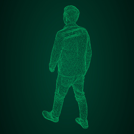 The man in the jacket is walking somewhere. Species from different sides. Vector illustration of a green neon glowing triangular grid on a black-and-green background