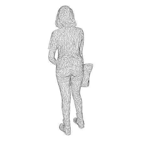 A woman with a bag on her bent hand. Vector illustration of a black triangular mesh on a white background