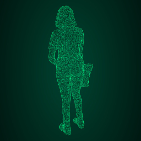 A woman with a bag on her bent hand. Vector illustration of a green luminous triangular grid on a black-and-green background