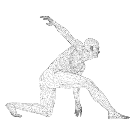 Male athlete discus thrower or a runner, in standby or low start. Views from different sides vector illustration of black, triangular grid on a white background. Illustration