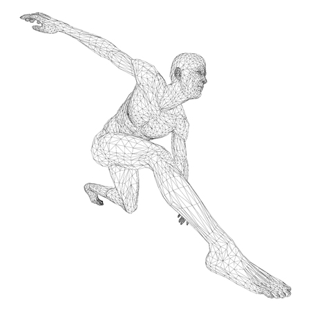 Male athlete discus thrower or a runner, in standby or low start. Views from different sides. Vector illustration of black, triangular grid on a white background