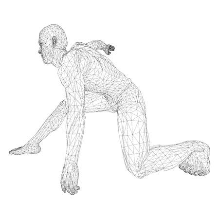 Lançador de disco masculino do atleta ou um corredor, no começo à espera ou baixo. Vistas de lados diferentes. Ilustração em vetor de grade preta, triangular em um fundo branco