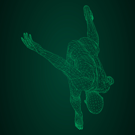 Male athlete discus thrower or a runner, in standby or low start. Views from different sides. Vector illustration of green neon glowing triangular mesh on black and green background