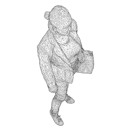 A woman with a bag on her bent hand, vector illustration of a black triangular mesh on a white background.