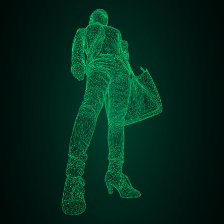 A woman with a bag on her bent hand vector illustration of a green luminous triangular grid on a black-and-green background.