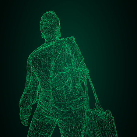 A woman with a bag on her bent hand. Vector illustration of a green luminous triangular grid on a black-and-green background. Illustration