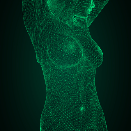 Conceptual vector illustration of a human body. Female breast and body in the form of a three-dimensional triangular polygonal mesh made of green lines