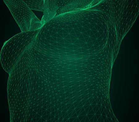 Illustration vectorielle conceptuelle d'un corps humain. Poitrine et le corps de la femme sous la forme d'un maillage polygonal triangulaire tridimensionnel composé de lignes vertes Banque d'images - 94823804