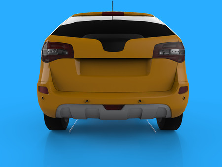 Compact city crossover yellow color on a blue background. Back view. 3d rendering Stock Photo