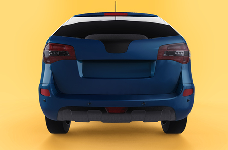 Compact city crossover blue color on a yellow background. Back view. 3d rendering Stock Photo