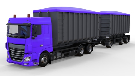 Large purple truck with separate trailer, for transportation of agricultural and building bulk materials and products. 3d rendering Banque d'images
