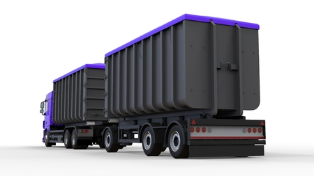 Large purple truck with separate trailer, for transportation of agricultural and building bulk materials and products. 3d rendering Stock Photo