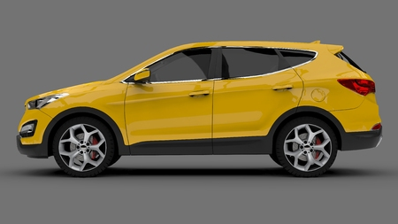Compact city crossover yellow color on a gray background. 3d rendering Stock Photo