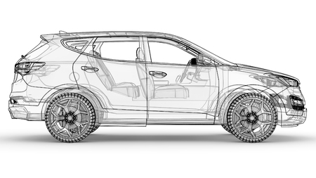 Mid-size city crossover. An illustration on a white background, the car is outlined by lines and has a translucent body. 3d rendering