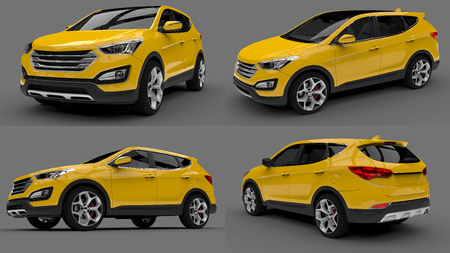 Set compact city crossover car with yellow color on a gray background. 3d rendering Stock Photo