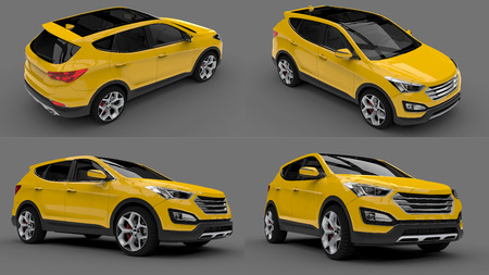 Set compact city crossover yellow color on a gray background. 3d rendering