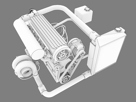 Turbocharged four-cylinder, high-performance engine for a sports car. Black and white bitmap illustration of a white engine silhouette outlined by black lines of strokes. 3d rendering Фото со стока
