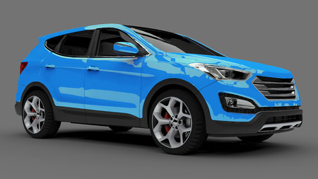 Compact city crossover blue color on a gray background. 3d rendering Stock Photo