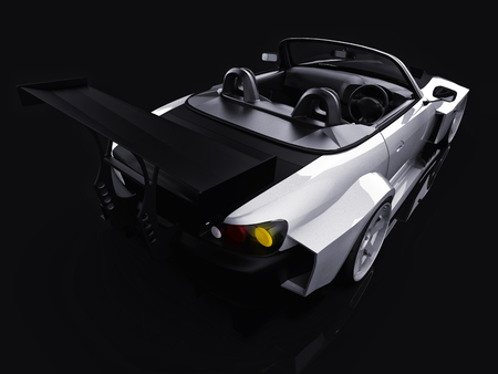 Modern gray metallic sports convertible. Open car with tuning. 3d rendering