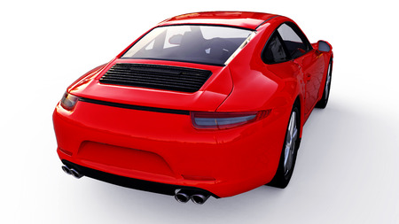 Red Porsche 911 three-dimensional raster illustration on a white background. 3d rendering. Stock Photo - 111724792