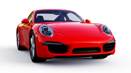 Red Porsche 911 three-dimensional raster illustration on a white background. 3d rendering.