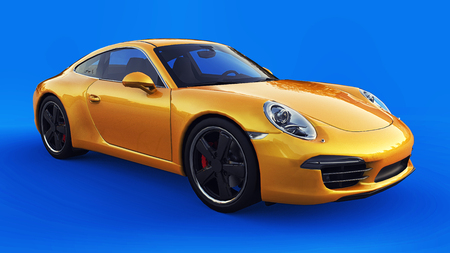 Yellow Porsche 911 three-dimensional raster illustration on a blue background. 3d rendering.