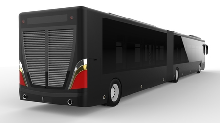 A large city bus with an additional elongated part for large passenger capacity during rush hour or transportation of people in densely populated areas. Model template for placing your images and inscriptions. 3d rendering